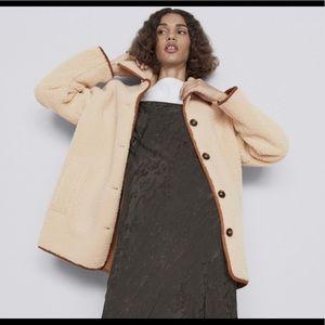 NWT Zara Fleece Coat Suede Trim